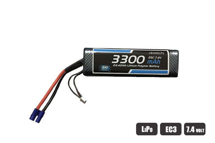 LB3300LP2 - Bateria Lipo 7.4V/2S 3300mAh 25C/50C oval hardcase - EC3
