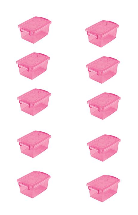 Caixa Organizadora c/ Trava Pink 400ml -  12,8 x 9 x 6 cm - Ordene - Kit c/ 10 unid.