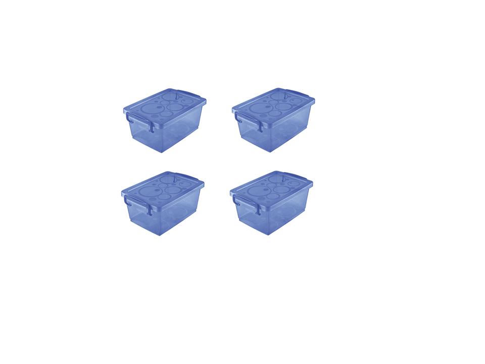 Mini Organizador c/ Alça 650 ml - 15,8 x 11 x 7cm - Azul - kit c/ 4 unid.