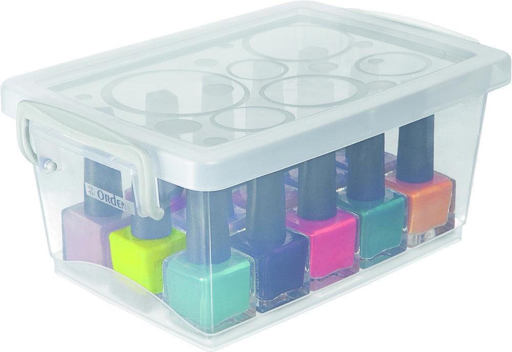 Mini Organizador c/ Alça Cristal 1,5L - 19,7 x 11,8 x 9cm - Ordene - Kit c/ 3 unid.