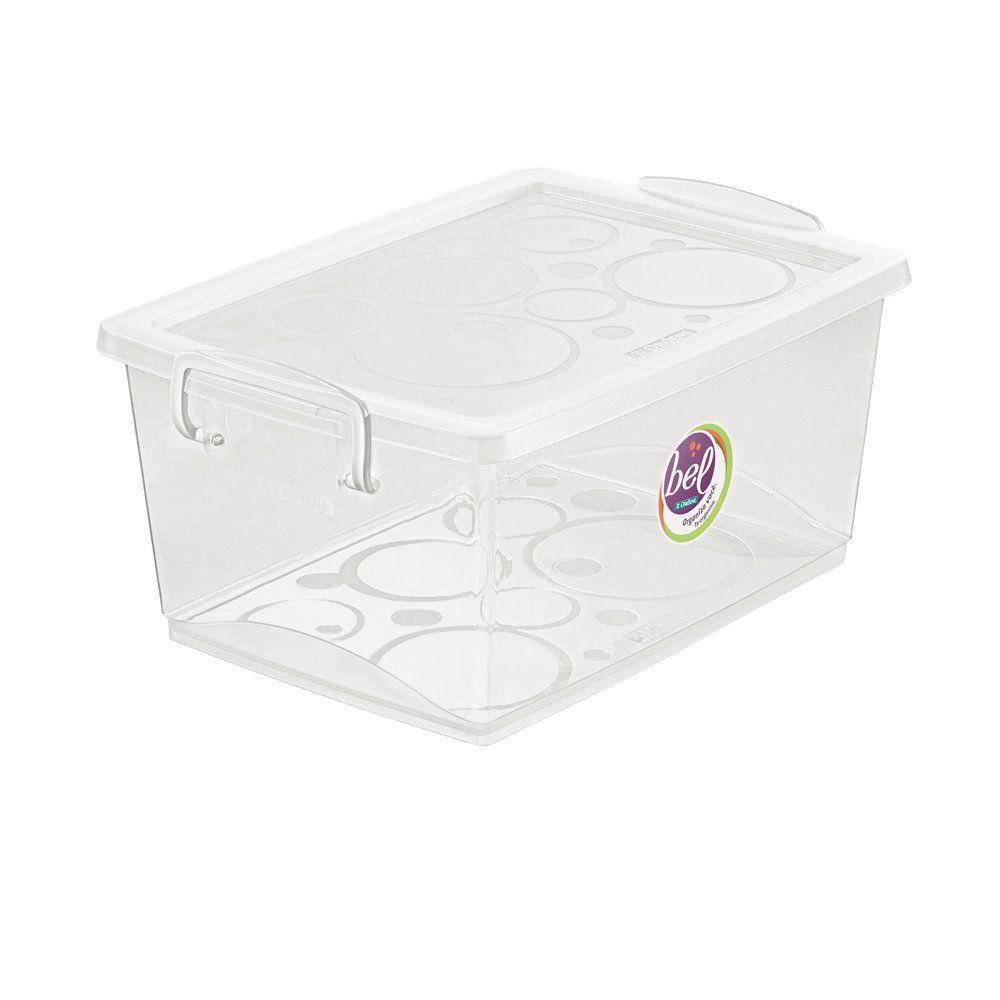 Organizador c/ Trava 4L - 26 x 19 x 12cm - Cristal - Ordene - kit c/ 6 unidades