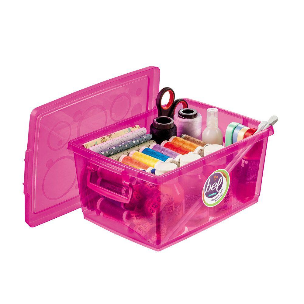 Organizador c/ Trava 4L - 26 x 19 x 12cm - Pink - Ordene - kit c/ 8 unidades