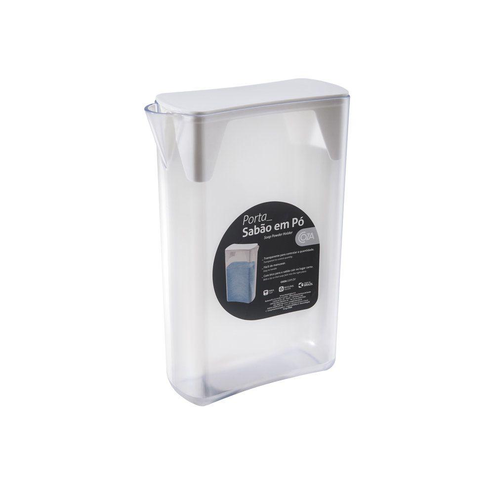 Porta Sabão Em Pó Branco 16,4 X 6,8 X 24 Cm Coza