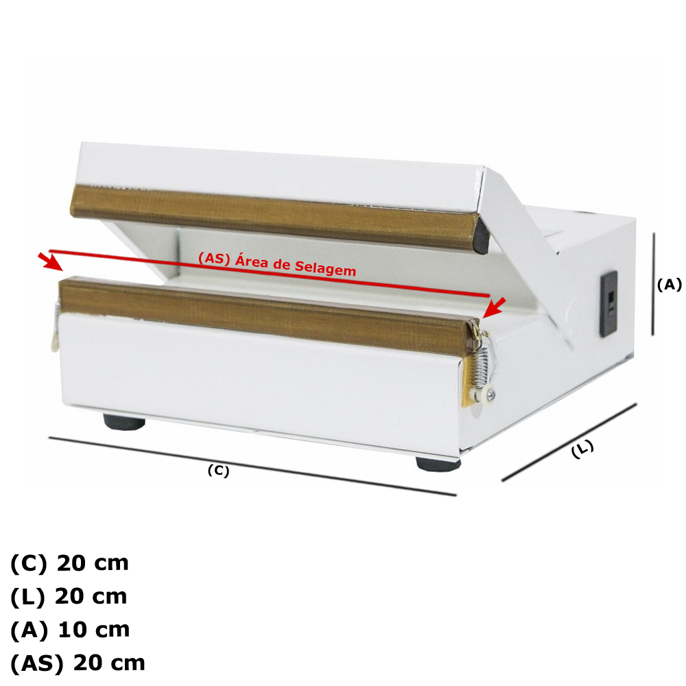 Seladora Para Sacos Plásticos Manual 20cm Sela e Corta STNOnline