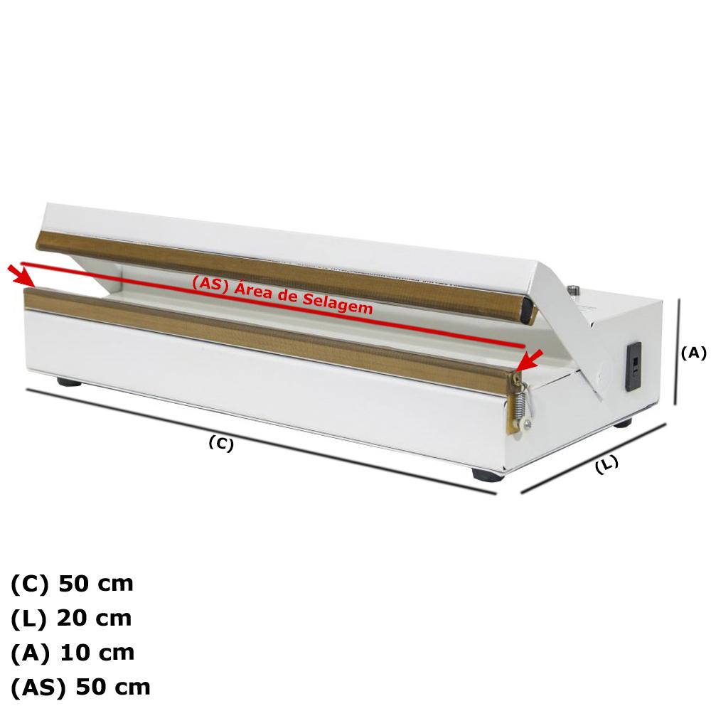 Seladora Para Sacos Plásticos Manual 50cm Sela e Corta stn