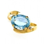 Anel Água Marinha Azul Diamantes Ouro 18644 K448