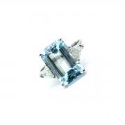 Anel Água Marinha com Diamantes Trilhante Extra Em Ouro Branco 25628 K2900