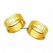 Anel Aliança Escrava Egípcia Larga com 10 Milimetros Genuíno Ouro 18K Unissex