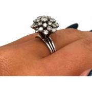 Anel Chuveiro de Diamantes 1,41 Cts Ouro Branco 14 Milimetros 23293