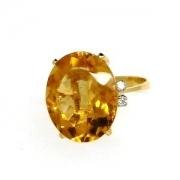 Anel Citrino Amarelo Natural Oval Ouro 18K K800 9545