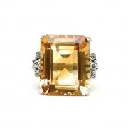 Anel Citrino Natural Retangular 17,63 cts Diamantes em Ouro 18K - K1400