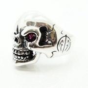 Anel Crânio Skull Olhos Rubi Prata De Lei Genuina 23407