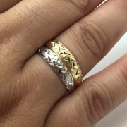 Anel Duplo Ouro Branco Amarelo 18K Feminino 21489
