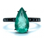 Anel Esmeralda Diamante Negro Ouro 18K Ródio Negro 24509 K930