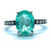 Anel Esmeralda Oval e Diamantes Ouro 18K Ródio Negro 25193