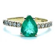 Anel Feminino Esmeralda Extra Gota Diamantes Ouro 18K 24874