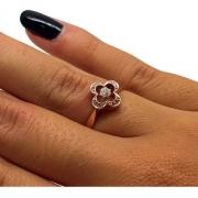 Anel Flor Trevo de Diamantes Ouro Rose 18K 14942 K350