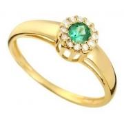 Anel Esmeralda Diamantes Ouro 18K 24315 K485