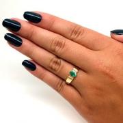 Anel Feminino Esmeralda Diamantes Naturais Ouro 18K 22894