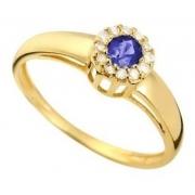 Anel Safira e Diamantes Naturais Ouro 18K 24318 K485