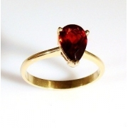 Anel Granada Vermelha Extra Feminino Ouro 18K K280