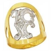 Anel Letra Feminino Diamante Original Ouro 18K