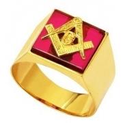 Anel Maçonaria Masculino Rubi Ouro 18K Fabricante Garantia