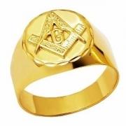Anel Maçonaria Redondo Em Ouro 18K K600