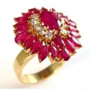 Anel Marquise de 23 Rubis Extra Diamantes Ouro 18K 03180 K2800