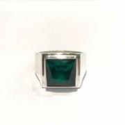 Anel Masc Verde Esmeralda Facetado Comendador Prata 19171