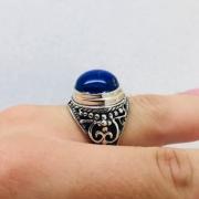 Anel Masculino Lapis Lazuli Exclusivo Prata De Lei Bali 23488
