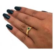 Anel Medicina Esmeralda Diamantes Ouro 18K 22893 K645