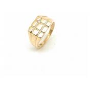 Anel Ouro 18k Masculino Quadrado Diamante Natural 21067 K700