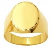 Anel Oval Liso Gravação Original Ouro 18K
