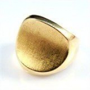 Anel Ovalado Concavo Designer Fosqueado Ouro 18K