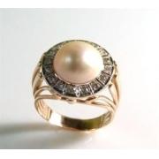 Anel Pérola 12 Milimetros com Diamantes Ouro 18K 01147 K1700