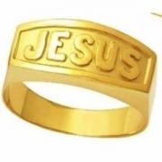 Anel Religioso Jesus Letra De Forma Ouro 18K 23109 K425