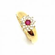 Anel Rubi e Diamantes Feminino Ouro 18K 22624