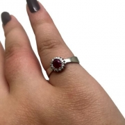 Anel Rubi e Diamantes Diamantes Extra Ouro Branco 18K 24324 K655