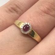 Anel Rubi Princesa Diamantes Ouro 18K 22895 K565