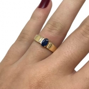 Anel Safira Azul 6 Diamantes Ouro 18K Feminino K645 22892