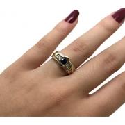 Anel Safira Azul 8 Diamantes Baquetes Ouro 18K K670 21397