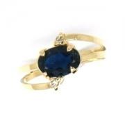 Anel Safira Azul Natural com Diamantes Ouro 18K 18643 K520