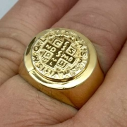 Anel São Bento Prata De Lei Folheada A Ouro 24K