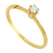 Anel Solitário Brilhante Zircônia 3 Milimetros Ouro 18K 21052 K165