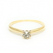 Anel Solitário Diamante brilhante natural com13 pontos Ouro 18K