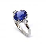 Anel Tanzanita Oval Natural Diamantes Ouro Branco 18K 25627