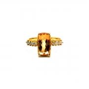 Anel Topázio Imperial Natural Antique Diamantes Ouro 25625