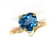Anel Topázio London Coração com Diamantes Ouro K305 18652