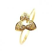 Anel Trio Corações Diamante Ouro 18K Acetinado 09541 K210